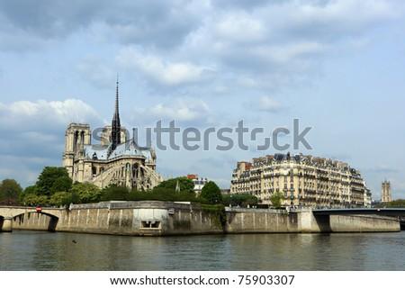 Notre Dame de Paris cathedral on the la seine riverside