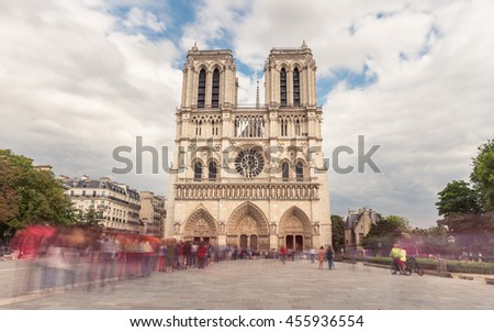Notre Dame de Paris. France. Ancient catholic cathedral on the quay of a river Seine. Famous touristic architecture landmark in summer #455936554