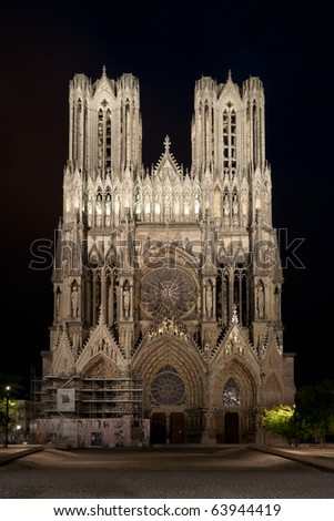 Notre-Dame de Reims (Cathedral of Reims) - stock photo
