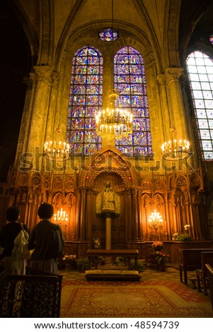 Notre dame du Pilier chapel inside Chartres Cathedral, France