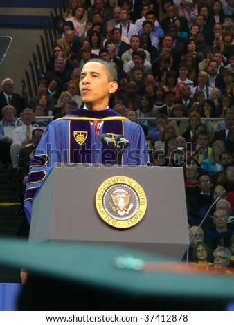 NOTRE DAME, IN - MAY 17: United States President Barack Obama gives the commencement speech at the University of Notre Dame's graduation ceremony on May 17, 2009