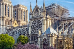 Notre Dame of Paris. On April 15, 2019, a violent fire destroyed the spire and the entire roof, the choir and the transept. in the picture, the roof and the arrow are absent.