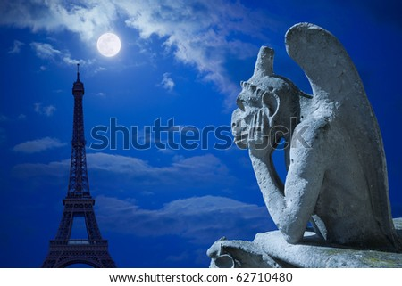 Notre Dame of Paris: The Stryge (most famous of the Chimeras) looking to the Eiffel Tower under moonlight