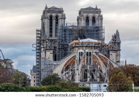 Notre-Dame restoration. Notre-Dame cathedral (Paris) was damaged by fire on 15 april 2019 Stockfoto ©