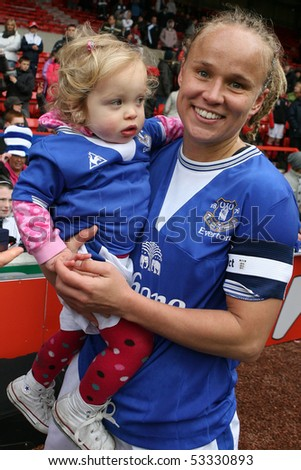 NOTTINGHAM, CITY GROUND - MAY 03:Jody Hanley with family Everton celebate winning Arsenal Ladies vs Everton Ladies, Womens FACup May 3 2010  in Nottingham, City Ground