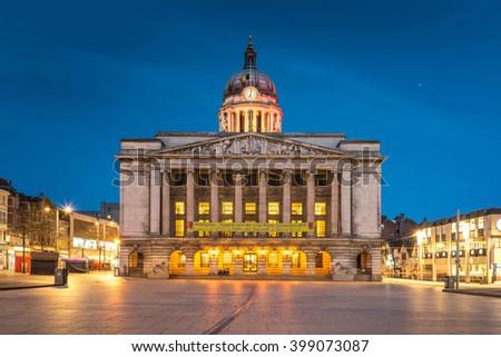 Nottingham Council House front shot at Twilight
