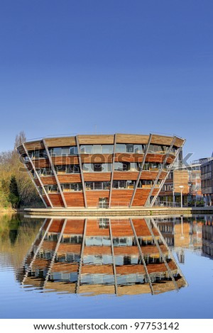 NOTTINGHAM, UK - MARCH 11: Modern purpose buildings of the Jubilee Campus, Nottingham University , March 11, 2012. The University is one of the most popular among British applicants in 2012