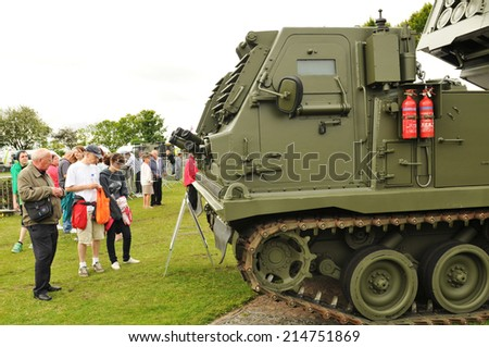 NOTTINGHAM, UK - MAY 25, 2011: Military forces and equipment displayed at the Armed Forces Day in Nottingham