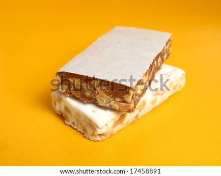 Nougat in two flavors on yellow background