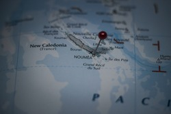 Noumea, capital city of New Caledonia pinned on geographical map