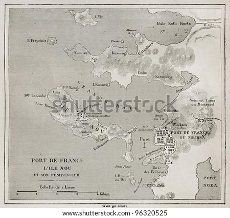 Noumea (formerly) Port-de-France area old map, Grande Terre, New Caledonia. Created by Erhard, published on Le Tour Du Monde, Paris, 1867