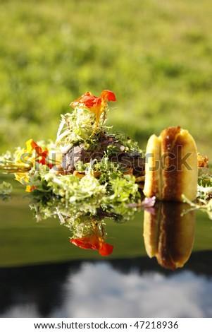 Nouvelle cuisine sandwich and salad decoration stock photo for Nouvelle decoration cuisine