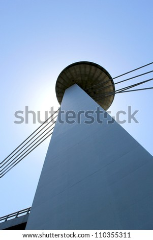 "Nový Most Bridge, famous ""Ufo"" tower perspective detail, Bratislava. Slovakia"
