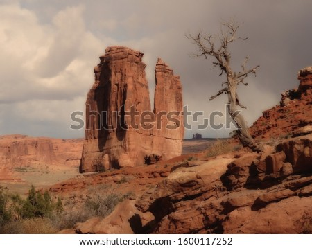 Nov 2014 - Nature landscape Tree tourism day outdoors Tranquility Rock formation geology scenics Arches National Park, Utah beauty in Nature no people monolithic travel destinations tranquil scene phy