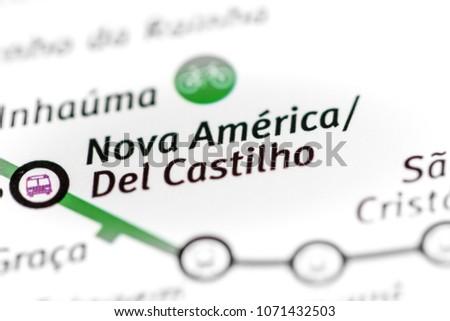 Nova America / Del Castilho Station. Rio de Janeiro Metro map. o Foto stock ©