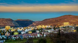 Nova Gorica Panorama With Strange Cloud. Look From Road ToKostanjevica Church. Just Before Sunset.