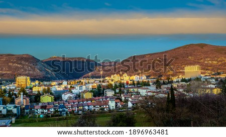 Nova Gorica Panorama With Strange Cloud. Look From Road ToKostanjevica Church. Just Before Sunset. Stock photo ©