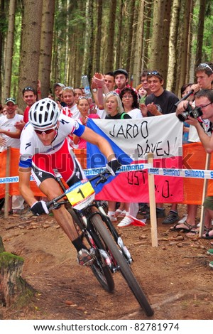NOVE MESTO NA MORAVE - AUGUST 14: Biker Jaroslav Kulhavy at UCI Mountain Bike World Cup in Nove Mesto na Morave 2011, August 14, Czech republic