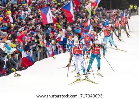 NOVE MESTO NA MORAVE, CZECH REPUBLIC, 12 DECEMBER 2016: winter sport biathlon #717340093