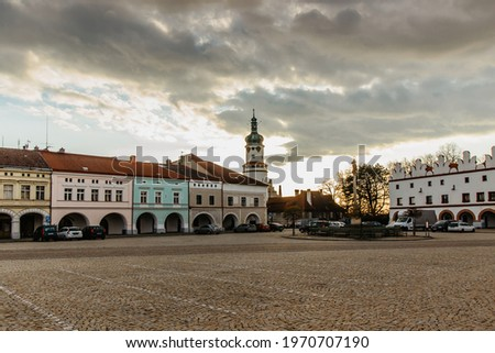 Nove Mesto nad Metuji, Czech republic. Historical centre of the town with charming Hus Square,colorful houses with arcade and famous Castle.Pearl of east Bohemia.Czech tourist attraction. Stock photo ©