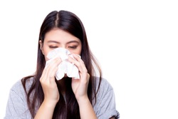 Novel coronavirus 2019 concept. Asian woman has a stuffed nose or runny nose and has a fever. Beautiful asian girl get coronavirus when she go to china. Novel coronavirus 2019 is epidemic. copy space