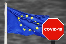 Novel Coronavirus spread from China to Europe. 2019-nCoV Covid-19 sars-cov-2 disease. Grunge European flag. Outbreak started in Italy