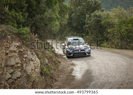 NOVELLA, CORSICA - 1st OCTOBER 2016.  J. Latvala & M. Antilla compete in Special Stage SS8 between Novella and Pietralba in Corsica in the 2016 WRC Tour de Corse #493799365