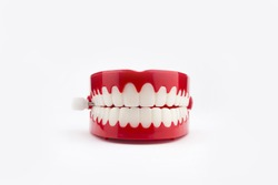Novelty chattering teeth on a white background.