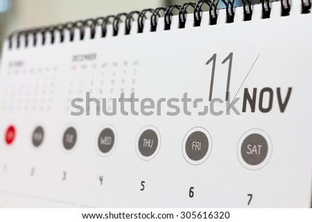 November calendar header. 2015 year calendar.