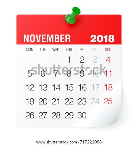 November 2018 - Calendar. Isolated on White Background. 3D Illustration