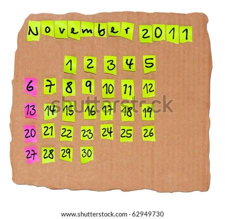 November Calendar Creative November 2011 Creative