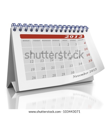November desktop Organizer on a white background with a page curl on the top page