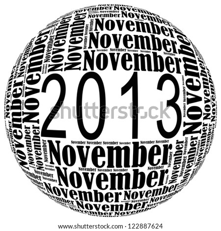 November 2013 info-text graphics arrangement on white background