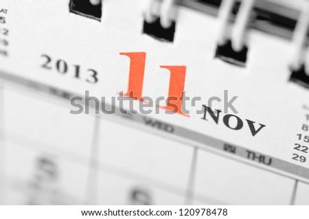 November of 2013 calendar