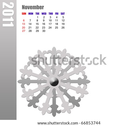 November of 2011 Calendar - stock photo