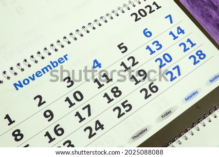 November 2021 on the calendar page, wall calendar, business planning concept. Photo stock ©