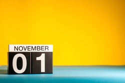 November 1st. Image of november 1 calendar on yellow background. Empty space for text