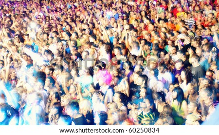 NOVI SAD, SERBIA - CIRCA JULY 2010:Motion blur of audience in front of the Dance Stage at the Best European Music Festival - EXIT 2010, circa July 2010 at the Petrovaradin Fortress in Novi Sad.