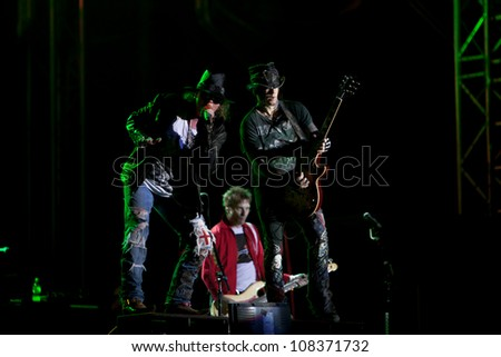 NOVI SAD, SERBIA - JULY 15: Guns N' Roses performs at EXIT 2012 Music Festival, on July 15, 2012 at the Petrovaradin Fortress in Novi Sad, Serbia. (Axl Rose)