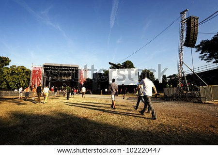 NOVI SAD, SERBIA - JULY 7: People go towards the Main Stage at the first day of EXIT 2011 Music Festival, on July 7, 2011 in the Petrovaradin Fortress in Novi Sad.