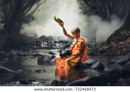 novice monks thailand ,buddhist temple,Novice monk went on a pilgrimage alone stay outdoors.