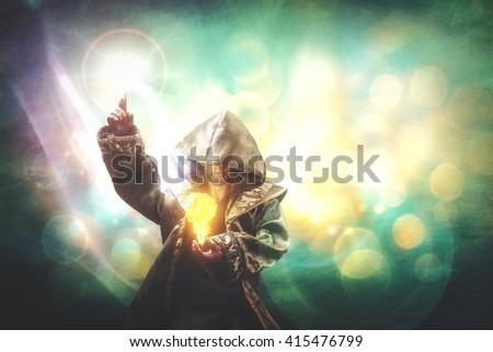 novice warlock making a spell of a small fireball Сток-фото ©