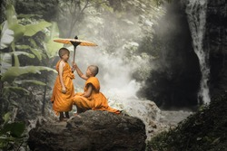 Novices monk in the forest.