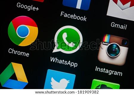 NOVOKUZNETS, RUSSIA - MARCH 13, 2014: Closeup photo of Whatsapp icon on mobile phone screen.