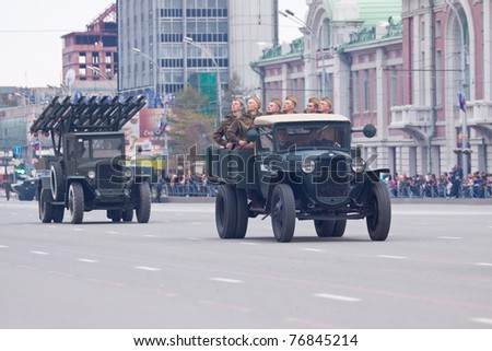 NOVOSIBIRSK - MAY 7: The Rehearsal of a parade dedicated to Victory Day in World War II, display of vintage military equipment on May 7, 2011, Novosibirsk Russia