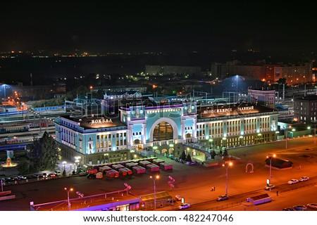 stock photo novosibirsk russia august night view of novosibirsk railway station one of the most 482247046 - Каталог — Фотообои «Новосибирск»