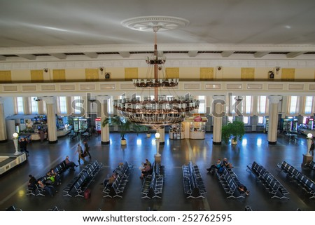 Novosibirsk, Russia - August 16, 2014: People are waiting in waiting room at Novosibirsk Glavnyy Train Station.