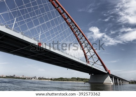 stock photo novosibirsk russia jul new bugrinsky bridge in novosibirsk russia 392573362 - Каталог — Фотообои «Новосибирск»