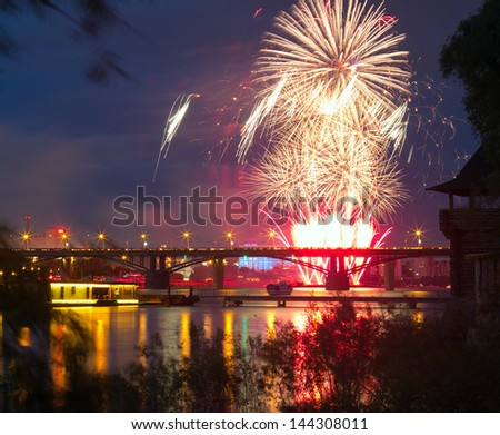 NOVOSIBIRSK, RUSSIA - JUNE 30: The 10th festival of fireworks in Novosibirsk, 2013. City Day closing, 120 years to Novosibirsk. Ob Embankment, June 30, 2013, Novosibirsk, Russia.