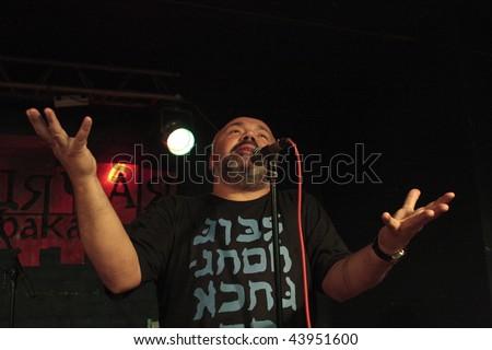 NOVOSIBIRSK, RUSSIA - SEPTEMBER 5: Arkady (FreeMan) Kirichenko - actor theater, jazz vocalist, jazz musician performance in a nightclub The Stray Dog, September 5, 2008 in Novosibirsk, Russia